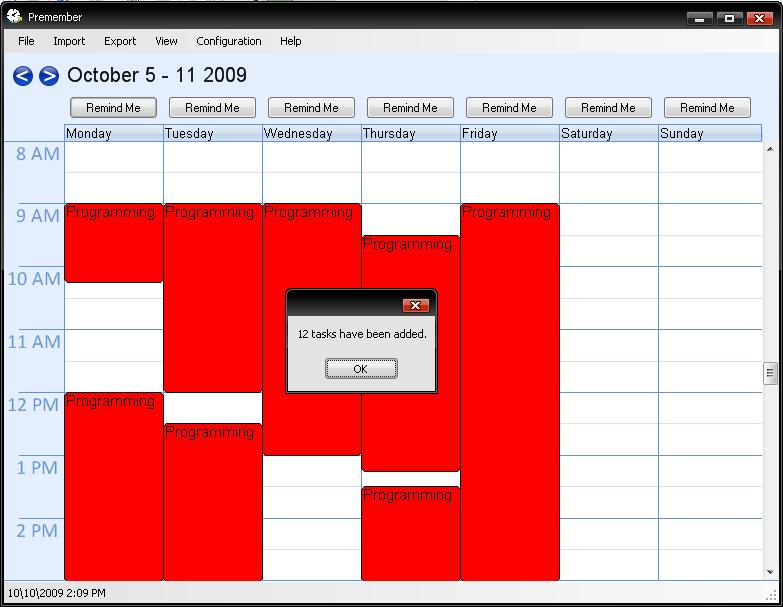 Week Calendar automatic add tasks image 1